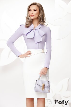 Camasa Fofy  eleganta lila cu funda maxi si accesoriu inclus