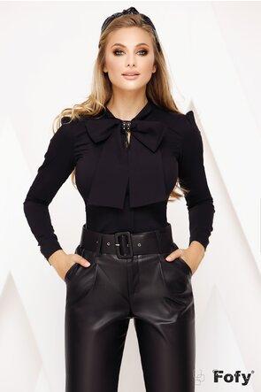 Camasa Fofy neagra cu funda maxi si brosa stilizata inclusa