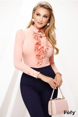 Camasa Fofy roz dama eleganta cu jabou si brosa