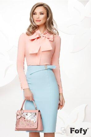 Camasa Fofy roz somon cu funda maxi si brosa stilizata inclusa