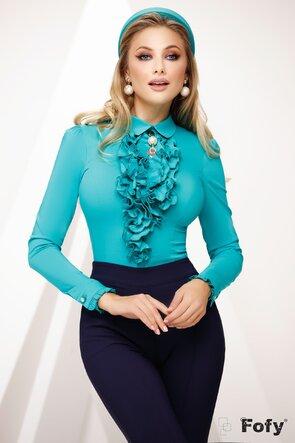 Camasa Fofy verde turcoaz dama eleganta cu jabou si brosa
