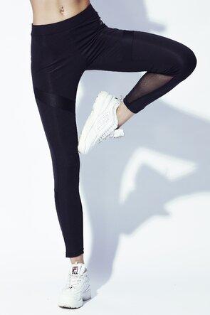 Colanti negri lungi cu detaliu pe picior si pe lateral