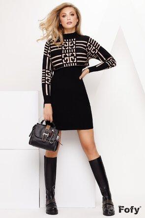 Compleu dama din doua piese, rochie neagra mulata cu pulover crop top
