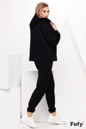 Compleu dama negru sport 3 piese pantalon hanorac si vesta