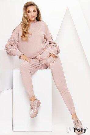 Trening tricotat dama roz 2 piese