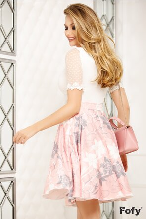 Fusta Fofy  clos cu buzunare imprimeu floral roz cu gri