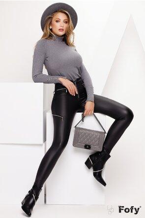 Helanca dama tip pulover gri cu strasuri la maneca