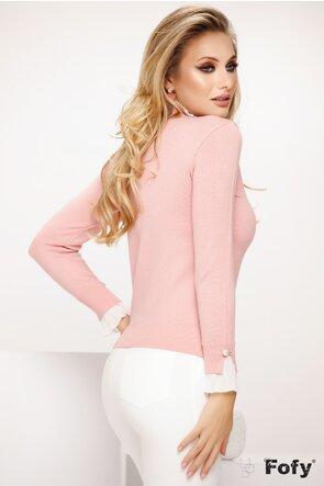 Helanca dama tip pulover roz cu volane albe si perla