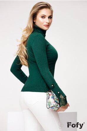 Helanca dama verde eleganta cu volane din dantela si nasturi cu puf