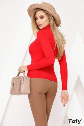 Helanca rosie tip pulovaras cu maneca lunga