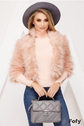 Jacheta Fofy scurta din blana ecologica in nunate delicate de roz pudrat