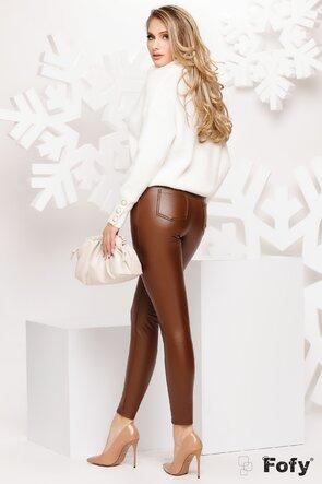 Pantalon dama bej din piele ecologica cu efect pushup