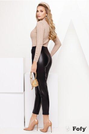 Pantalon dama cu talie inalta din piele ecologica