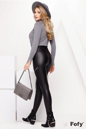 Pantalon dama cu talie inalta din piele ecologica cufermoare si efect push