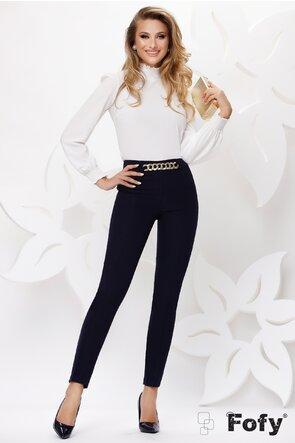 Pantalon dama Fofy elegant bleumarin cu lant auriu