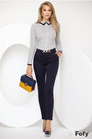 Pantalon Fofy bleumarin cu talie medie accesoriu auriu