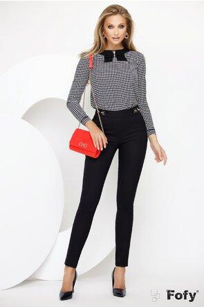 Pantalon de dama Fofy negru din material premium cu doua catarame laterale