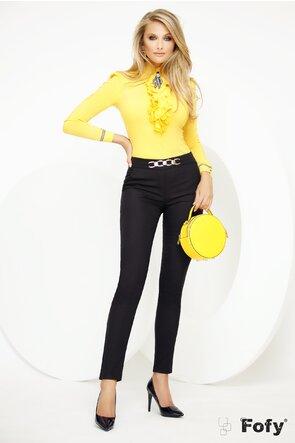 Pantalon Fofy negru material pretios cu accesoriu auriu