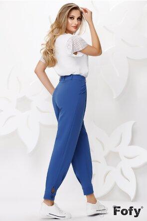 Pantaloni dama albastri bufanti cu talie inalta cu manseta si nasture la glezna
