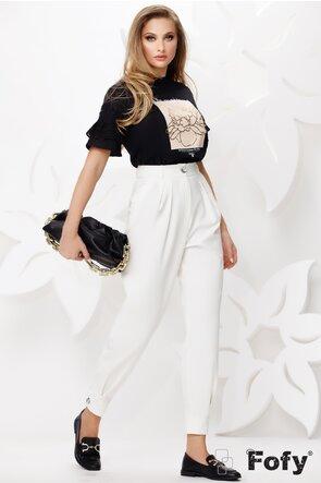 Pantaloni dama albi bufanti cu talie inalta cu manseta si nasture la glezna