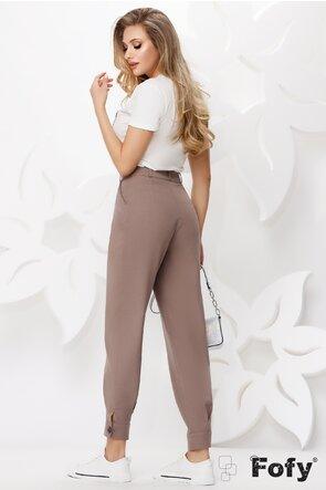 Pantaloni dama bej bufanti cu talie inalta cu manseta si nasture la glezna
