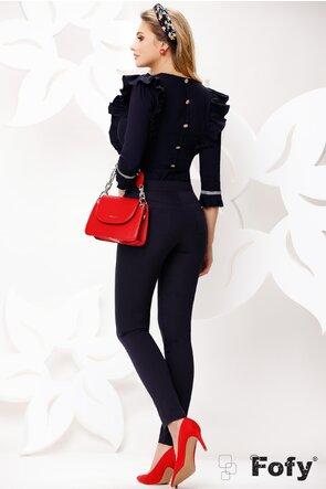 Pantaloni dama Fofy bleumarin cu banda detaliu lateral