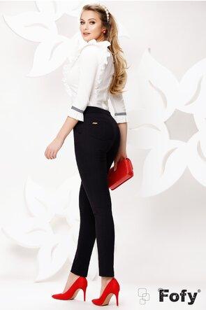 Pantaloni dama Fofy negri cu banda detaliu lateral