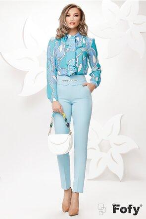 Pantaloni de dama bleu conici cu talie inalta si accesoriu detasabil