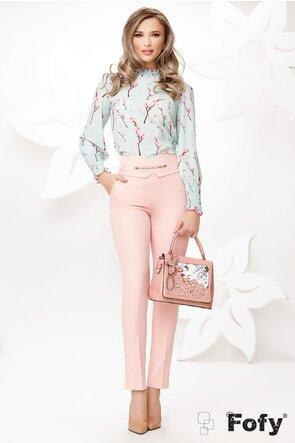 Pantaloni de dama roz conici cu talie inalta si accesoriu detasabil