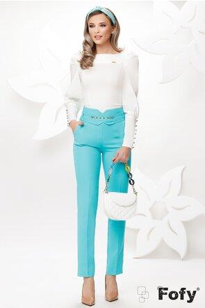 Pantaloni de dama turcoaz conici cu talie inalta si accesoriu detasabil