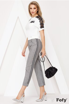 Pantaloni din stofa gri cu banda laterala decorativa