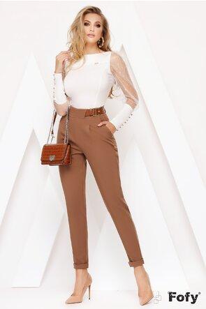 Pantaloni Fofy bej cu talie inalta si curea inclusa
