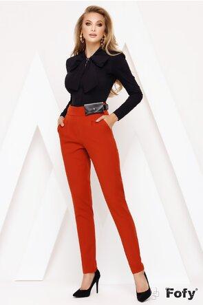Pantaloni Fofy caramizii cu talie inalta si curea cu borseta inclusa