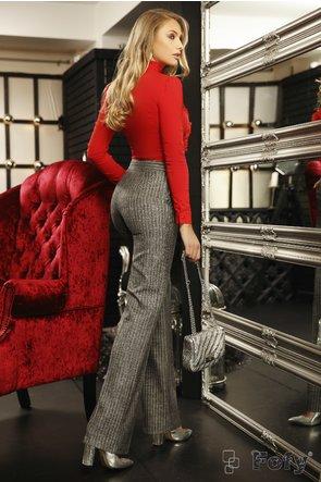 Pantaloni Fofy evazati din stofa gri cu dungi subtiri si buzunare laterale