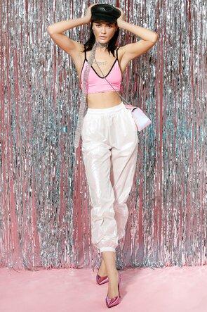 Pantaloni lungi albi cu efect holografic