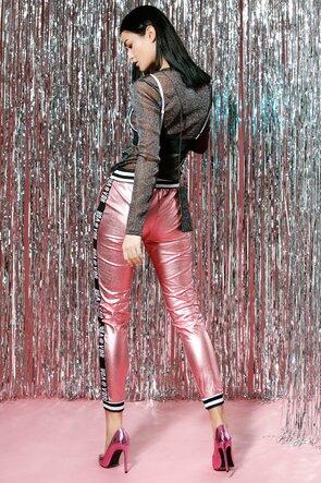 Pantaloni lungi roz metalic