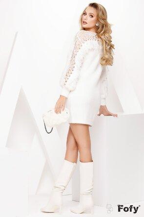 Pulover dama alb lung pufos cu broderie aplicata