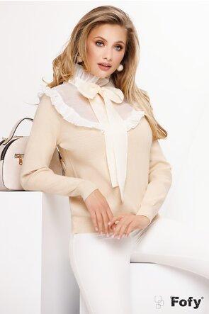 Pulover dama bej deschis elegant cu funda maxi din organza