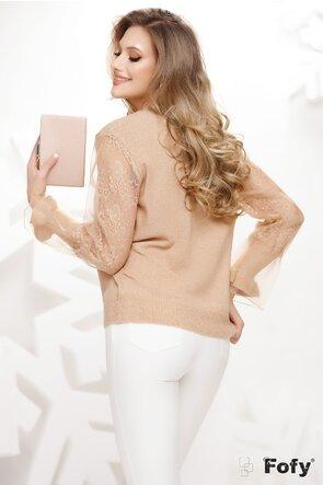 Pulover dama bej elegant cu maneci din organza si dantela