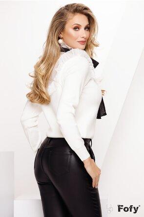 Pulover dama ecru elegant cu funda maxi din organza
