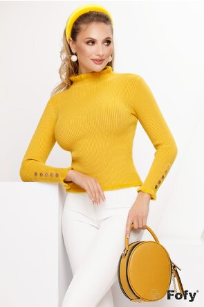 Pulover dama elegant galben cu nasturi metalici si volanase pufoase