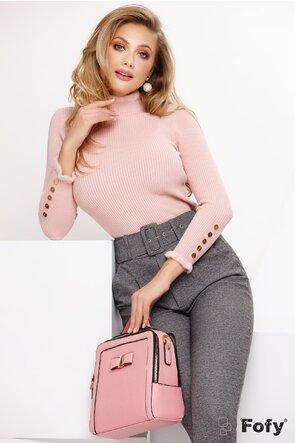 Pulover dama elegant roz cu nasturi metalici si volanase pufoase