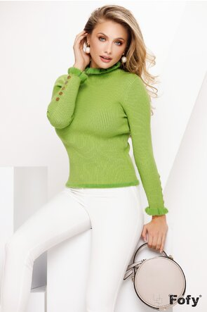 Pulover dama elegant verde cu nasturi metalici si volanase pufoase