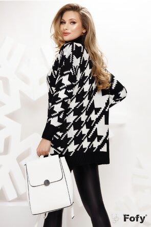 Pulover dama negru cu alb cu imprimeu geometric