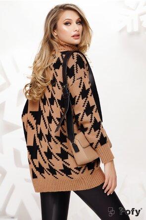Pulover dama negru cu bej cu imprimeu geometric