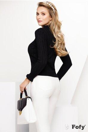 Pulover dama negru cu volanase si funda eleganta cu perle