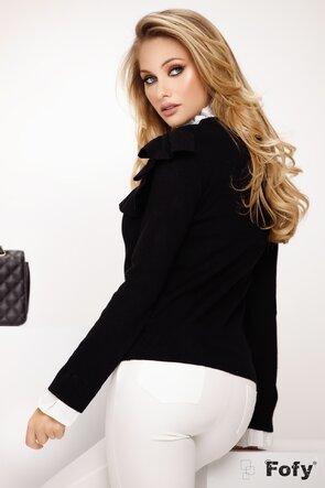 Pulover dama negru cu volanase si mansete cu guler alb
