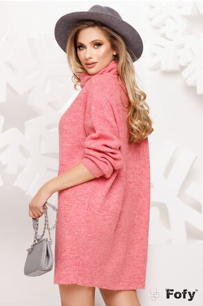 Pulover dama oversize roz