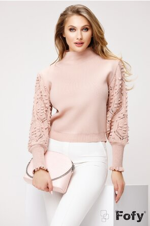 Pulover dama roz cu detalii 3D pe maneci