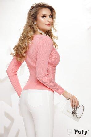 Pulover dama roz decoltat parte peste parte